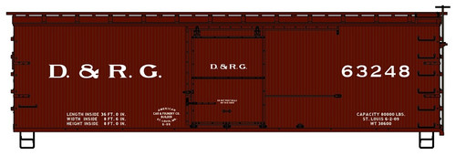 Accurail HO 1807 36' Double Sheath Wood Box Car Kit, Denver and Rio Grande Western #63248