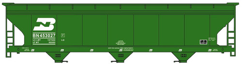 Accurail HO 2112 3-Bay ACF Covered Hopper Kit, Burlington Northern #453027 (Early Scheme)