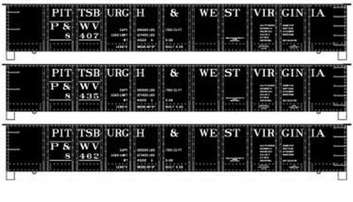 Accurail HO 37704 41' Steel Gondola Kits, Pittsburgh and West Virginia (Early Scheme) (3-Pack)