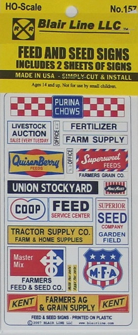 Blair Line HO 157 Feed and Seed Signs