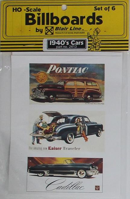 Blair Line HO 2413 1940s Billboards, Car Set #1 (6)