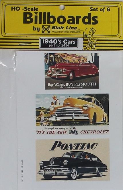 Blair Line HO 2414 1940s Billboards, Car Set #2 (6)