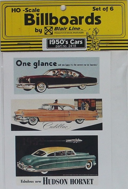 Blair Line HO 2418 1950s Billboards, Car Set #2 (6)