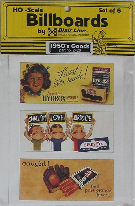 Blair Line HO 2420 1950s Billboards, Goods Set #2 (6)
