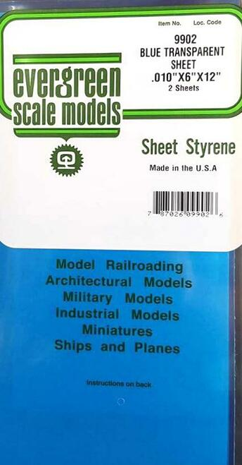 "Evergreen Scale Models 9902 Blue Transparent Polystyrene Sheets .010"" (2)"