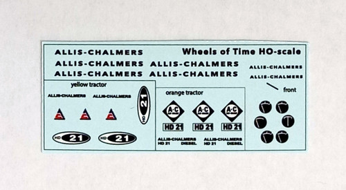Wheels of Time HO 980121 Allis Chalmers HD-21 Decals