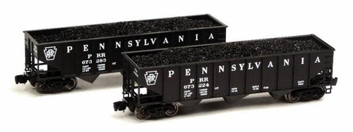 Full Throttle Z FT5009-2 Open 40' Ribbed 70-Ton Hopper Set #2, Pennsylvania Railroad (2-Pack)