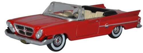 Oxford Diecast HO 87CC61001 1961 Chrysler 300 Convertible with Top Down, Mardis Gras Red