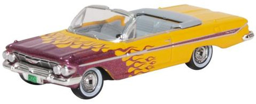 Oxford Diecast HO 87CI61004 1961 Chevrolet Impala Convertible with Top Down, Hot Rod