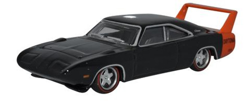 Oxford Diecast HO 87DD69001 Dodge Charger Daytona 1969, Black/Red Spoiler