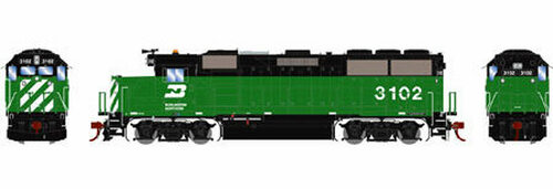 Athearn Genesis HO G65791 GP50, Burlington Northern (Green/Black) #3102 (DCC and Sound Equipped)