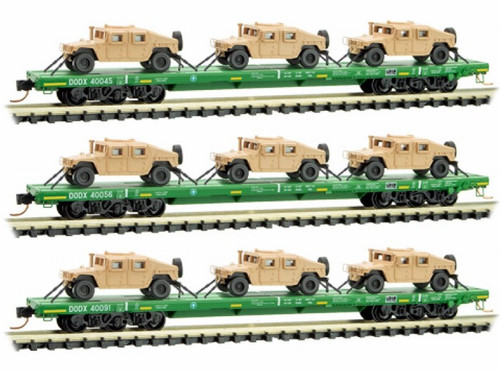 Micro-Trains N 99301612 DODX 'Cascade Green' Flat Car 3-Pack with Humvee Loads