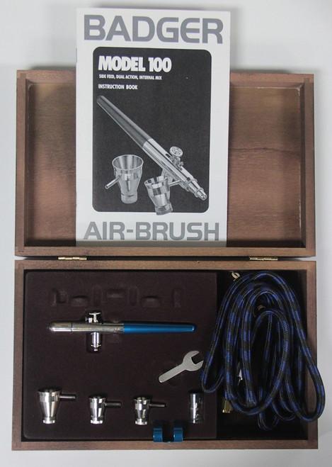 Badger 100-4-SS Side Feed Airbrush Set in Designer Wood Grain Storage Case
