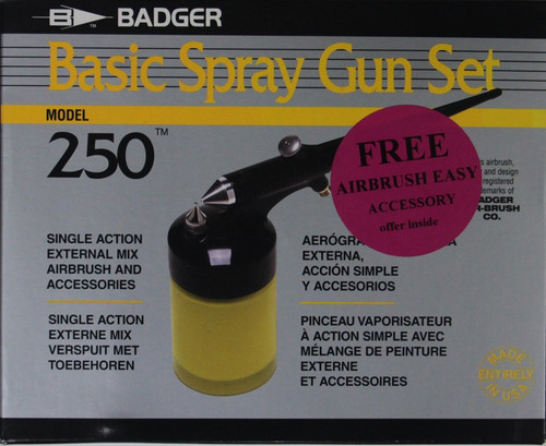Badger 250 Basic Spray Gun Set, Single Action with Internal Mix and Accessories