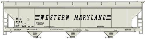 Accurail HO 2113 3-Bay ACF Covered Hopper Kit, Western Maryland #4652