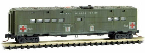 Micro-Trains N 11844050 Weathered 50' Troop Kitchen Car, U.S. Dept. of Defense Hospital Car