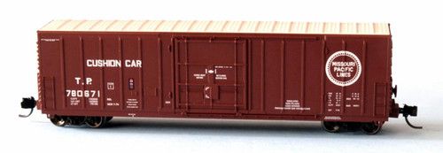 """Wheels of Time N 61199 Exterior Post Insulated Box Car with 10'-6"""" Plug Door, Texas and Pacific (MP Buzz Saw Logo) #780596"""