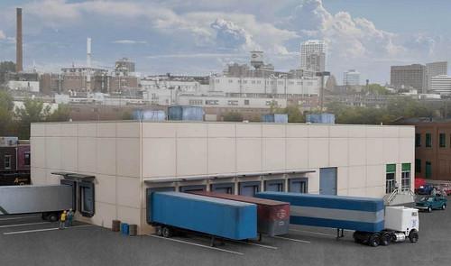 "Walthers Cornerstone N 933-3862 Modern Concrete Warehouse Kit (12 x 6-3/4 x 3-3/16"" )"
