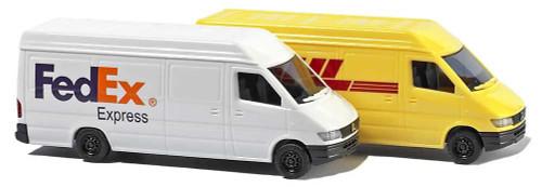Busch N 8304 Mercedes-Benz Sprinter Cargo Van 2-Pack (1 Each: FedEx and DHL)