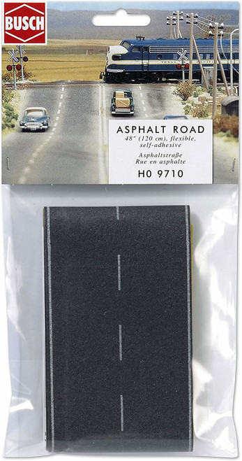 Busch HO 9710 Flexible Self Adhesive Paved 2-Lane Highway, Straight with White Markings