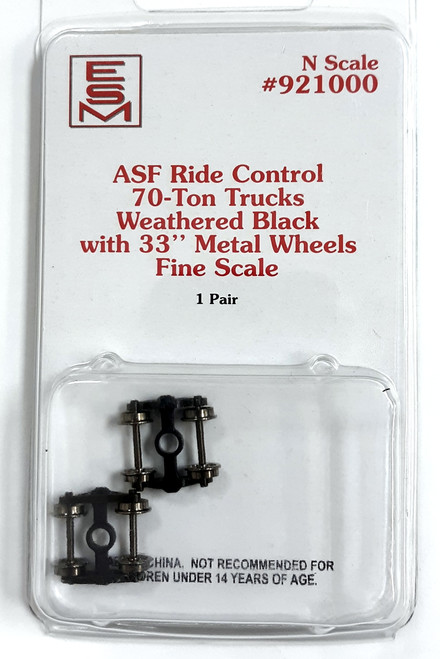 "Eastern Seaboard Models N 921000 Weathered ASF Ride Control Black 70-Ton Trucks with 33"" Fine Scale Metal Wheels"