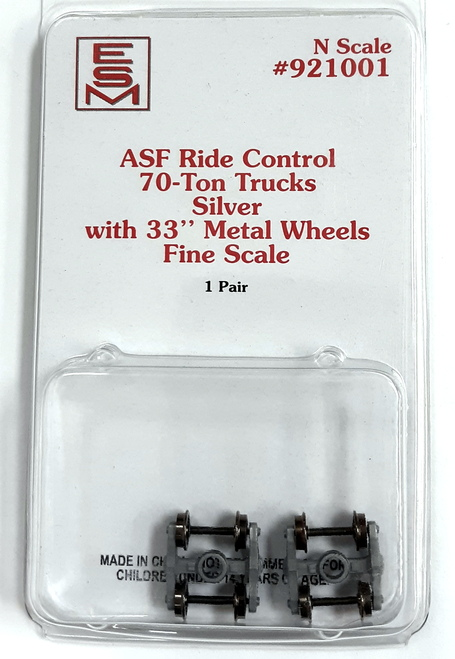 "Eastern Seaboard Models N 921001 ASF Ride Control Silver 70-Ton Trucks with 33"" Fine Scale Metal Wheels"