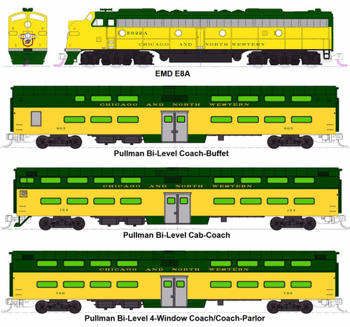 "Kato N 106104-LS EMD E8A and Pullman Bi-Level ""400"" Train, Chicago and North Western (6-Unit Set with ESU LokSound DCC)"