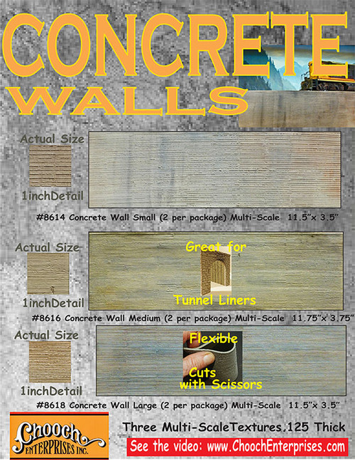 Chooch HO/O 8618 Flexible Concrete Wall, Large (2-Pack)
