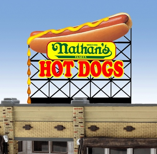 Miller Engineering HO/O 88-3551 Nathan's Hot Dog Billboard Sign (Large)
