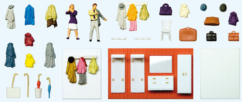 Preiser HO 10658 Ready to Go Out with Cloak Room Furniture