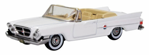 Oxford Diecast HO 87CC61003 1961 Chrysler 300 Convertible with Top Down, Alaskan White