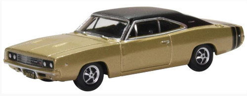 Oxford Diecast HO 87DC68002 1968 Dodge Charger, Gold and Black