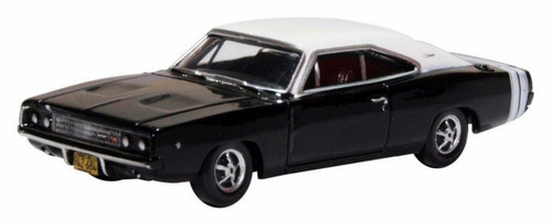 Oxford Diecast HO 87DC68003 1968 Dodge Charger, Black and White