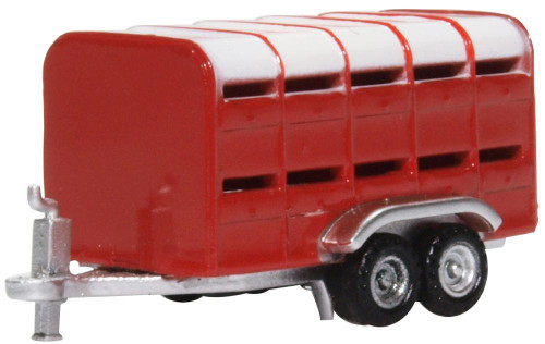 Oxford Diecast N NFARM004 1950-2000 Livestock Trailer, Red