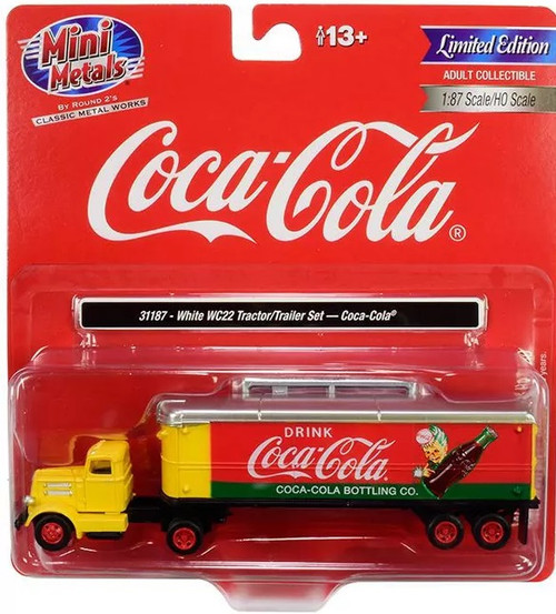 Classic Metal Works HO 31187 White WC22 Tractor with 32' Aerovan Trailer, Coca-Cola