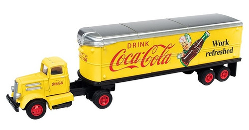 Classic Metal Works HO 31188 White WC22 Tractor with 32' Aerovan Trailer, Coca-Cola