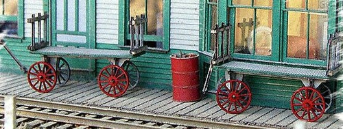 Bar Mills Scale Model Works HO/S 0782 Twin Baggage Cart Kits