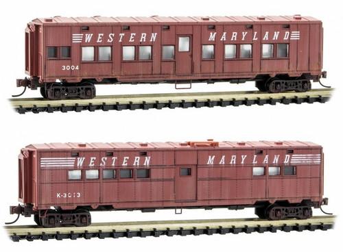 Micro-Trains N 99305570 Weathered 50' Troop Car, Western Maryland (2-Pack)