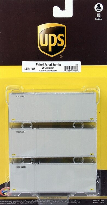 Athearn HO 17430 28' Containers, UPS #3 (3)