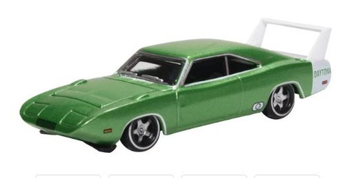 Oxford Diecast HO 87DD69003 Dodge Charger Daytona 1969, Bright Green with White spoiler
