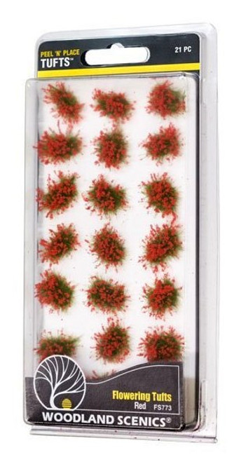 Woodland Scenics FS773 Peel 'n' Place Tufts, Red Flowering (21)