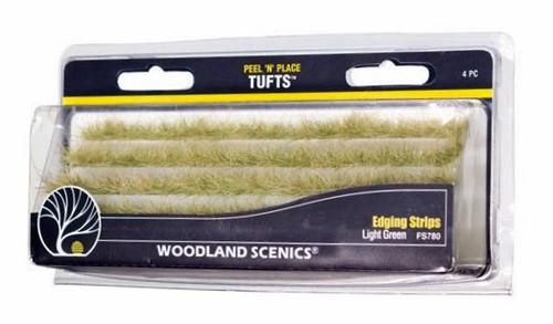 Woodland Scenics FS780 Peel 'n' Place Tufts, Light Green Edging Strips (4)