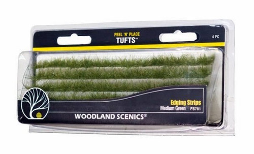 Woodland Scenics FS781 Peel 'n' Place Tufts, Medium Green Edging Strips (4)