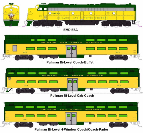 """Kato N 106104-LS-1 EMD E8A and Pullman Bi-Level """"400"""" Train, Chicago and North Western (6-Unit Deluxe Set with ESU LokSound DCC and Passenger Car Lighting)"""