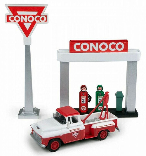 Classic Metal Works HO 40009 1955 Chevy Stakebed Truck with Station Sign and Gas Pump, Conoco