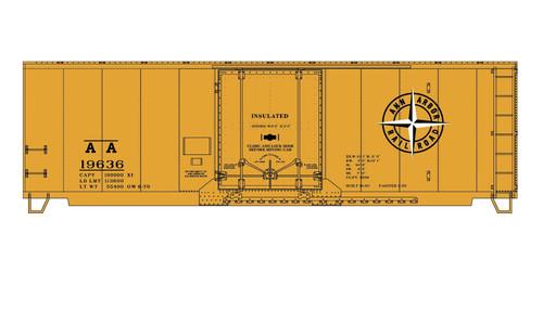 Accurail HO 31291 Insulated Plug Door Steel Box Car Kit, Ann Arbor #19636