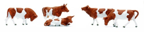 Preiser HO 14155 Cows, Brown and White (5)