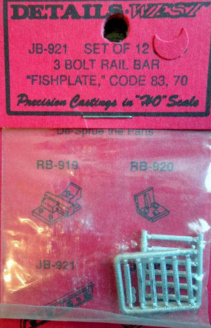 Details West HO 921 Code 83/70 3-Bolt Fishplate Rail Bar (12)