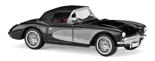 Busch HO 45425 1956 Chevrolet Corvette Convertible with Top Up, Black