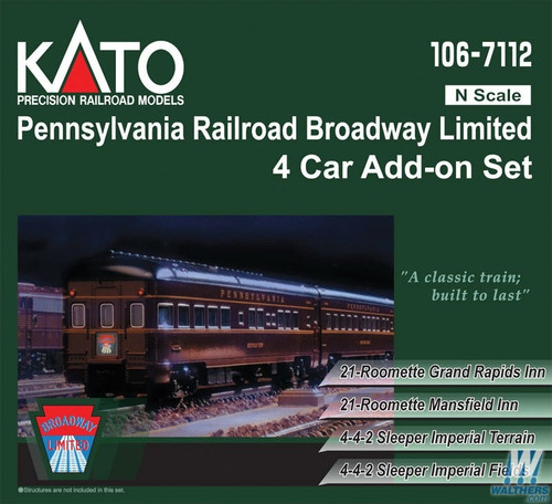 Kato N 1067112 Broadway Limited 4-Car Add-On Sleeper Set, Pennsylvania Railroad (2019 Edition and Road Numbers)